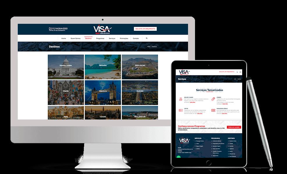 Página do Conteúdo site Visa Intercâmbios