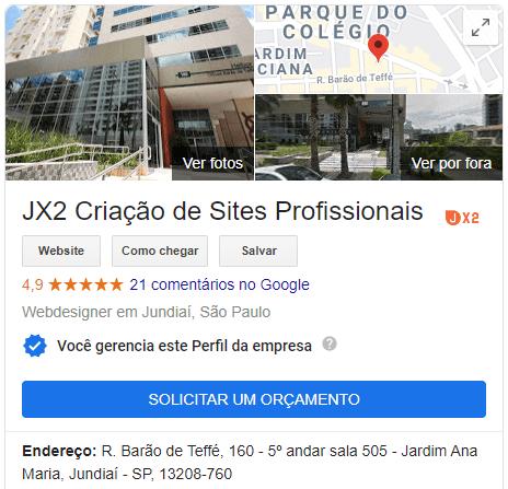Ficha no Google Meu negócio da JX2 que mostra sua reputação de 4.9 pontos